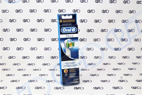 84708760 set 3 spazzolini di ricambio Braun Oral B 3D White  Ricambio per spazzolino elettrico Braun Oral B modello Pulsonic, Sonic Complete, Vitality Sonic, Cross Action Power